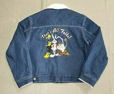 LOONEY TUNES Young KIDS's Size XL Denim Embroidery Winter Warm Jean Jacket