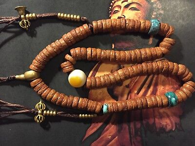 Old Nepali Tibetan small bodhi seed beads mala necklace turquoise eyed agate