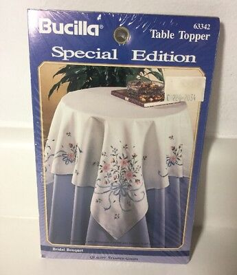 "Bucilla Special Edition Stamped Table Topper Kit 63342 Embroidery 40"" x 40"""