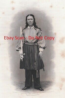 RARE Antique Print Civil War  WOMAN Soldier in Army Uniform - Kady Brownell 1866