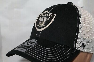 d0c08478bfb9a OAKLAND RAIDERS 47 Brand Clean Up Hat Adjustable Cap Black on Black ...