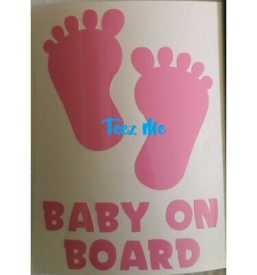 BABY ON BOARD, BOY or GIRL FEET, Vinyl Decal Sticker LGE
