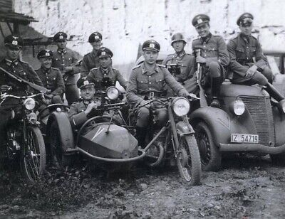 WW2 WWII Photo German Soldiers on Motorcycles World War Two / 2548