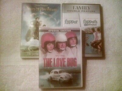 4 Movie Dvd Lot-Flipper/flippers New Adventure/love Bug/nanny Mcphee, Sku 4631