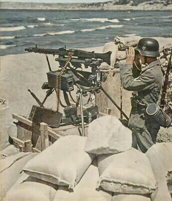 WW2 WWII COLOR Photo German MG42 Position at Normandy World War Two D-Day /  2106