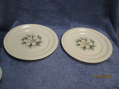 "Harker China DOGWOOD Luncheon Dessert Salad Plate Set of 2 Plates 8 "" Quite Nice"