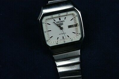 Seiko 5 Five Automatic White Tv Dial 17 Jewels Day Date Function Signed Bracelet