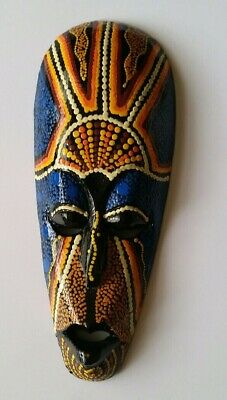 Wooden tribal mask - aboriginal dot painting - 25cm