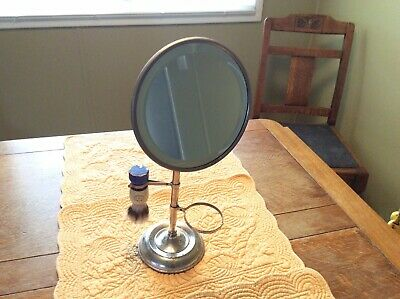 Antique/Vintage Shaving Beveled Mirror Stand W/Old STA-FAST STERILIZED NY Brush