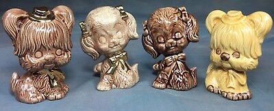 (4) Vintage 70s Anthropomorphic Dog Shih Tzu Poodle Figurines Signed & Dated