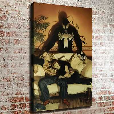 Venom standing behind the sleep person HD Canvas prints Home decor Room Wall art