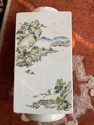 Fine Chinese Republic Period Hand Painted Famille Rose Sqaure Antique Vase
