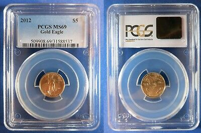 2012 (P) $5 Gold 1/10 Oz American Eagle ~Mint BU Coin~ PCGS MS69 Business Strike