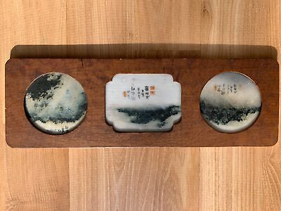 Fine Chinese Qing Period Three Signed Antique Moonstone In Wood Frame