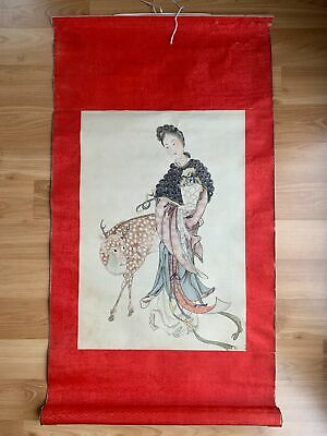Old Chinese Hand Painting On Silk Antique Scroll