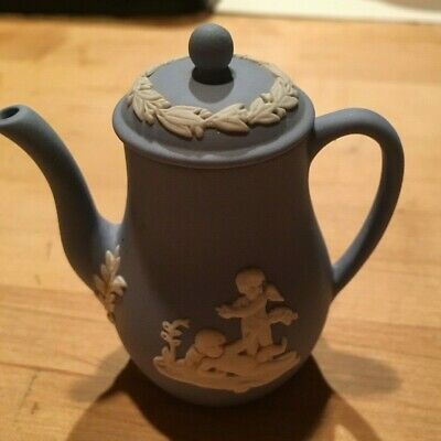 """Wedgwood Jasperware Miniature 3"""" Pale Blue Coffee Pot with Lid NICE! 2 available"""