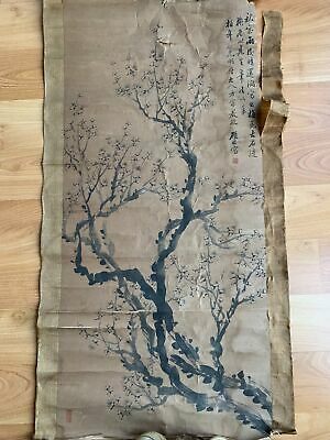 Old Chinese Hand Painting Water Color On Paper Antique Scroll Signed As Is