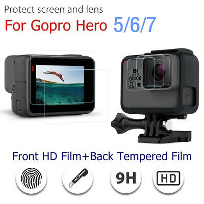 For GoPro Hero 7 6 5 Black Camera Clear Tempered Glass Screen + Lens Protector