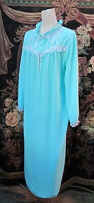 NIGHTGOWN Turquoise NIGHTIE Long sleeve Night Dress Gown 1960s Vintage NWOT