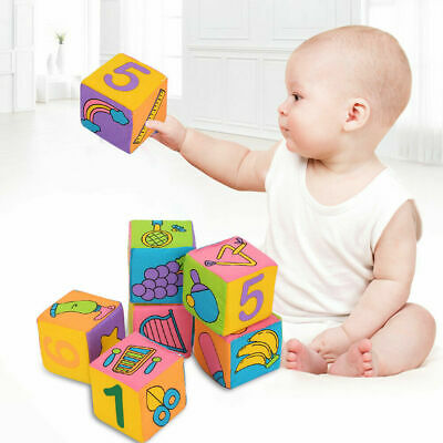 6pcs Cotton+Polyester Building Blocks Educational Cubes Learning Toy Baby Toddle