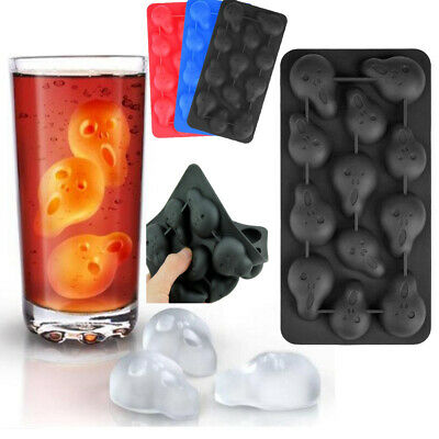 3D Skull Ghost Silicone Ice Cube Tray Maker Mold Drinking Chocolate Baking Tool