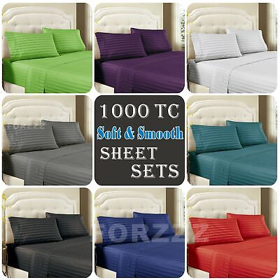 1000TC Bamboo Blend Stripe 4 Pieces Flat Fitted Sheet Set S/KS/D/Queen/King Bed