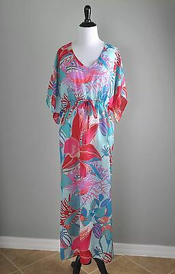 658be6b40725a TALBOTS Floral Resort Wear Tropical Beach Cruise Caftan Tunic Dress Cover Up  S
