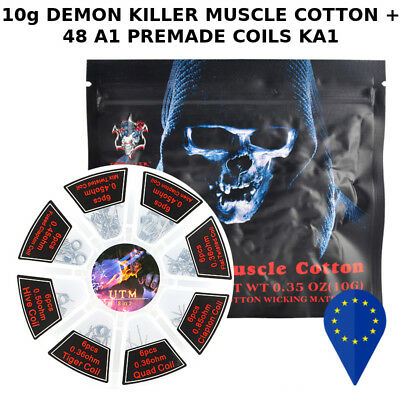 DEMON KILLER COTTON +48 PREBUILT COIL A1 (FeCrAl) fused tiger clapton hive alien