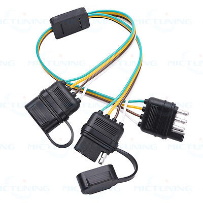 trailer y splitter 2 way 4pin wiring harness connector tailgate light  adapter