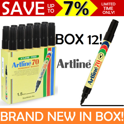 Artline 70 NEW IN BOX SEALED 12x Permanent Marker Black Bullet Tip 1.5mm AUSTOCK
