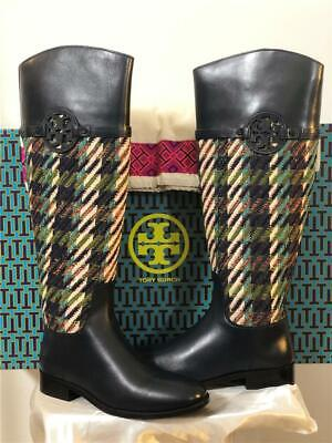 d034c28d1 NWB Tory Burch Bright Navy Green Dogtooth Miller Riding Tweed Boots SIZE US  7