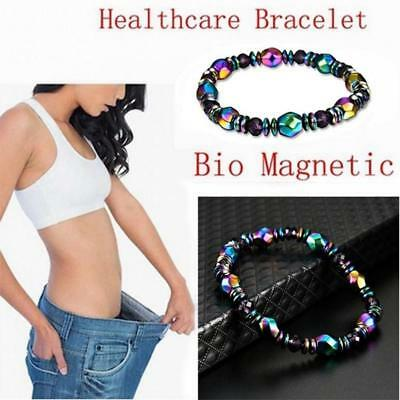 Unisex Magnetic Bracelet Beads Hematite Stone Therapy Health Care Weight Loss  #