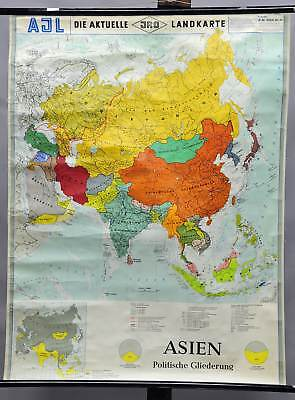 old poster pull-down geographical wall chart, map, Asia, political view