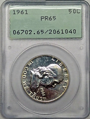 1961 50C Franklin Silver Proof Half Dollar PCGS PR65 Old Rattler Holder