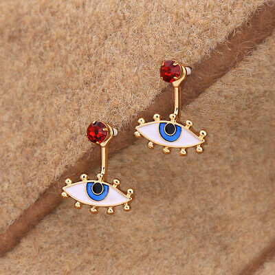 Cute Enamel Eyes Blue Evil Eye Jacket Stud Earrings for Fashion Jewelry Women
