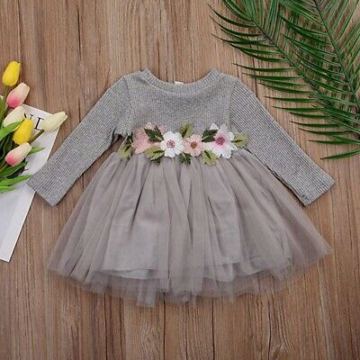 Baby Girls Long Sleeve Dress Party Tutu Lace Tulle Waist Embroidered Dress