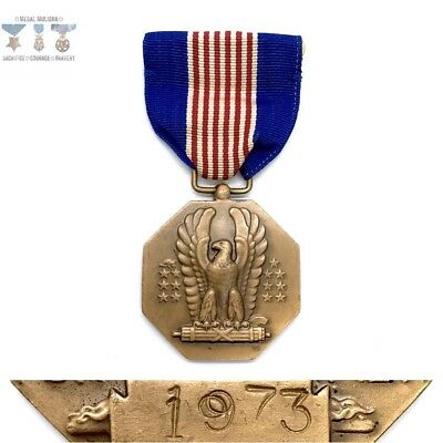 #1973 Us Army Soldiers Medal For Valor Slot Brooch Numbered / Dated