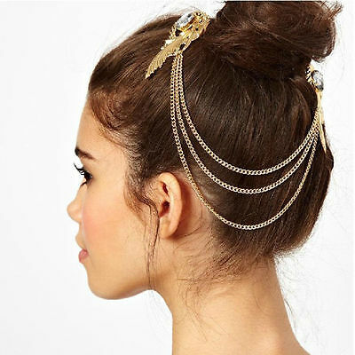 Medieval Headdress Gold Tone Chain and Pearls Very Elegant