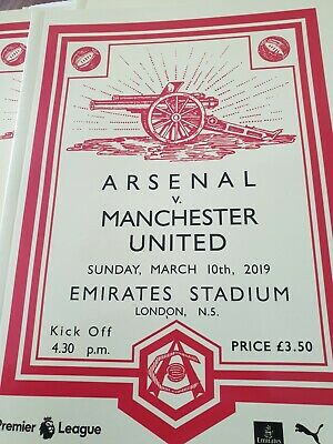 Arsenal v Manchester United, Match Day Programme Sunday March 10th, 2019