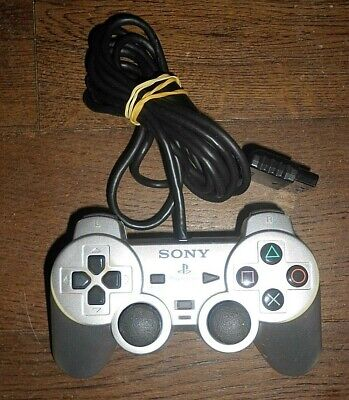 Sony Playstation Ps2 Silver Dualshock 2 Controller  Scph-10010 Tested In Vgwc