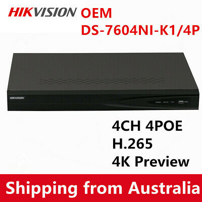 Hikvision OEM DS-7604NI-K1/4P 4CH 4POE NVR Upgradable Firmware 3 years warranty