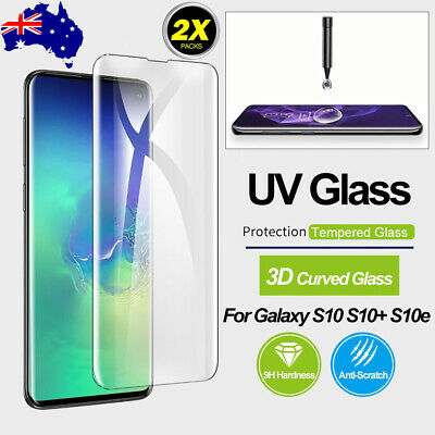 For Samsung S10 5G S9 Plus Note 9 UV Light Full Tempered Glass Screen Protector
