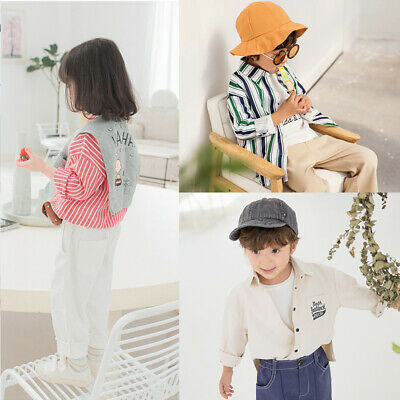 Kids Boys Girls Button Cardigan Jacket Striped Shirt Tops T-Shirt Coat Age 2-7 Y