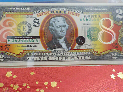USA 2013 Coloured TWO Dollar Lucky Number Eight  Note in Folder UNC
