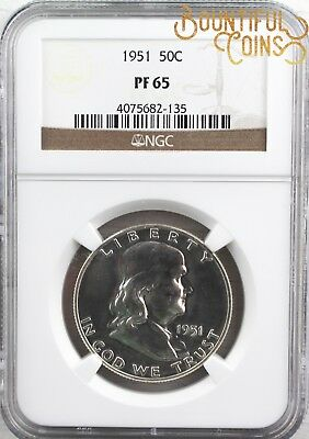 ~1951 NGC PF 65 Franklin Half Dollar Proof PR 50C Fifty Cents (U27)~