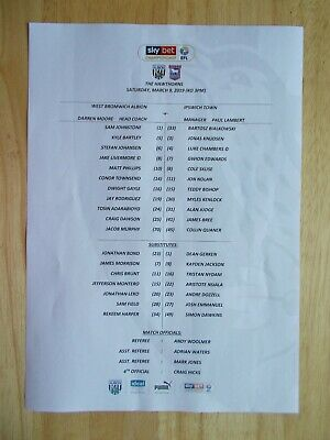 09/03/2019 West Bromwich Albion V Ipswich Town Official Coloured Teamsheet