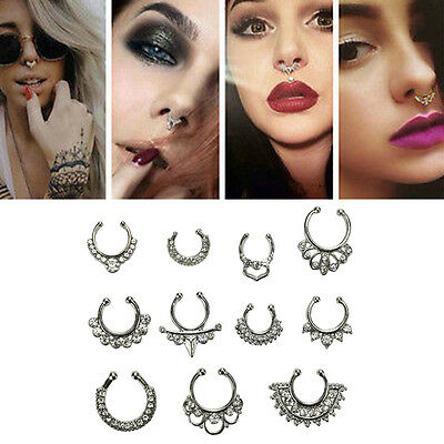 1Set Unisex Fake Septum Clicker Nose Ring Non Piercing Hangers Clip On JewelryXD