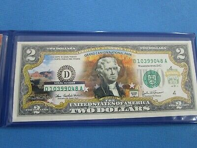 USA 2003 A  Hologram TWO Dollar Grand Canyon Note in Folder UNC