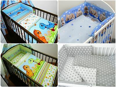 5 Piece Cot Bedding Set Straight bumper Cute Dino, Bear Print
