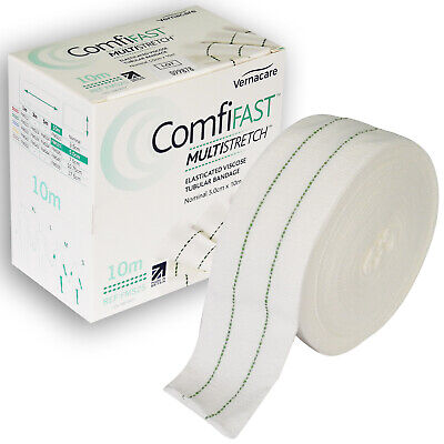 Comfifast Multi-Stretch Elasticated Tubular Bandage, Medium Limbs Green Line 5cm